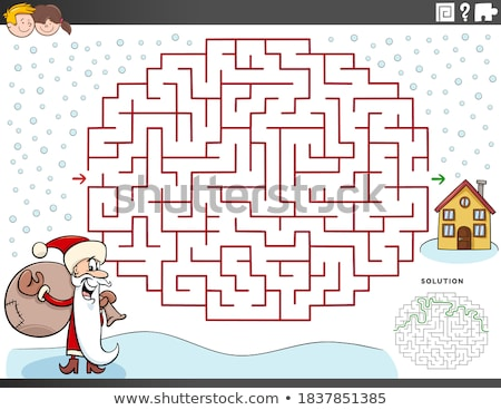 lines maze game with santa characters stock photo © izakowski