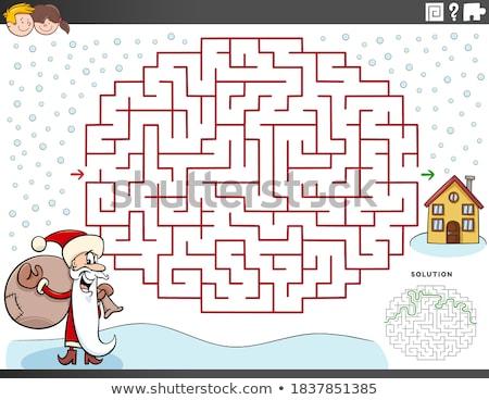 Stock fotó: Vonalak · labirintus · játék · mikulás · betűk · rajz