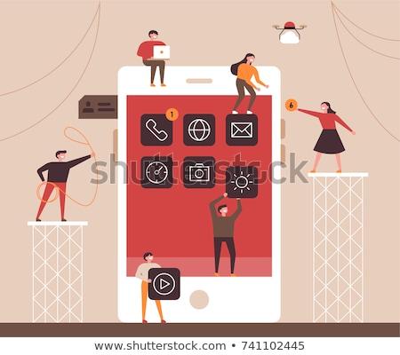 Mobiles collaboration affaires smartphone outils travail d'équipe Photo stock © RAStudio