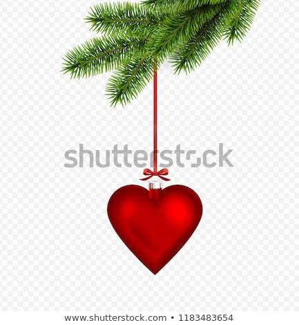 Herz Weihnachten Ball Spielerei Ornament Stock foto © Krisdog