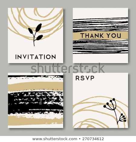 Golden Brush Strokes Thank You Card Template Stock photo © ivaleksa