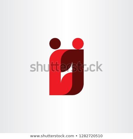 Rood letter l logo mensen business icon Stockfoto © blaskorizov