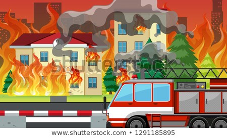 Fire in the villlage Stock photo © bluering
