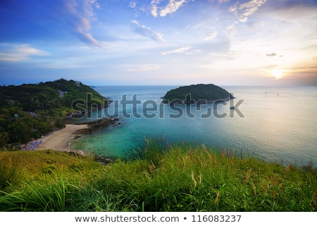 zonsondergang · palm · boten · tropisch · strand · eiland · Thailand - stockfoto © galitskaya