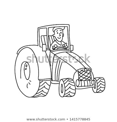 ストックフォト: トラクター · 男 · 運転 · 車 · アイコン · 孤立した