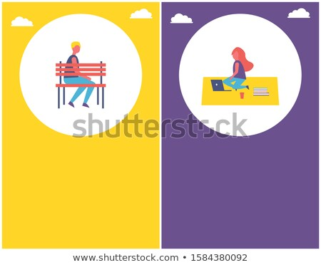People Park Poster Boy Sit on Bench Woman on Rug Stock photo © robuart
