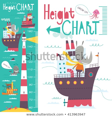 height measurement chart with sea animals in background stock photo © colematt