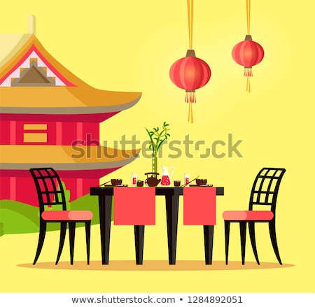 Chinese Restaurant Table and House with Pagoda Stock photo © robuart