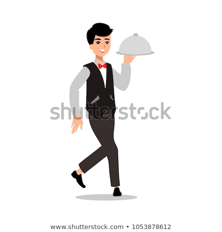 Stock photo: waiter wearing the uniform holding a dish of chicken cartoon character. Set of fun flat cartoon pers