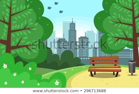 Eenvoudige park scène illustratie water boom Stockfoto © colematt