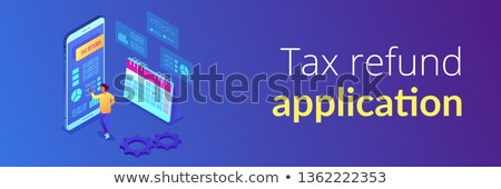 Tax return service isometric 3D banner header. Stock photo © RAStudio