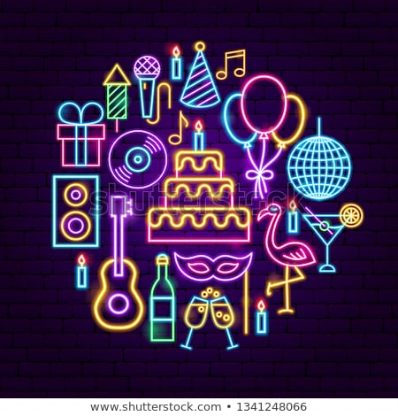 Disco ball neonreclame viering promotie gelukkig licht Stockfoto © Anna_leni