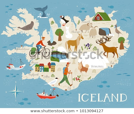 Stock photo: Vector high detailed vector map of Iceland with animals and landscapes. Animals of north.