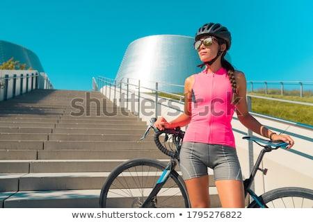 Kék ruházat bicikli szett lány út Stock fotó © toyotoyo
