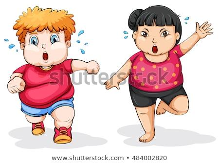 Pyzaty dziewczyna uruchomiony ilustracja szczęśliwy tle Zdjęcia stock © bluering