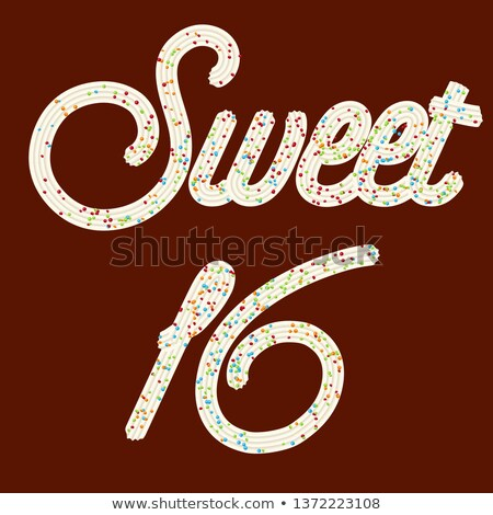 Tempting  typography. Icing text. 'Sweet 16' whipped cream text  Stock photo © balasoiu