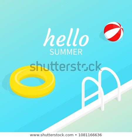Summer Time Illustration with Float and Beach Ball on Water in the Tiled Pool Background. Vector Sum Stock photo © articular