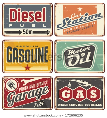 Vintage tankstation ingesteld ontwerp communie olie Stockfoto © netkov1