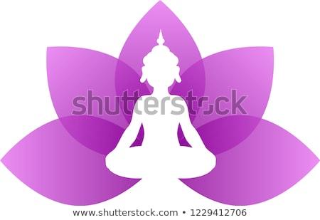 Yoga paars lotus logo illustratie Stockfoto © Blue_daemon