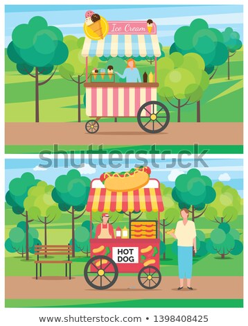 Ice Cream Stall Seller with Dessert Types Vector Stock photo © robuart