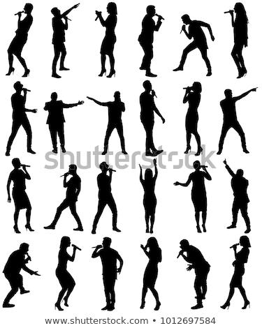 Mikrofon erkekler kadın şarkı söyleme pop Ünlüler Stok fotoğraf © robuart