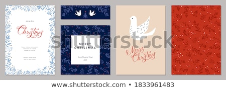 Christmas card with holiday greetings and dove with mistletoe Stock photo © ussr