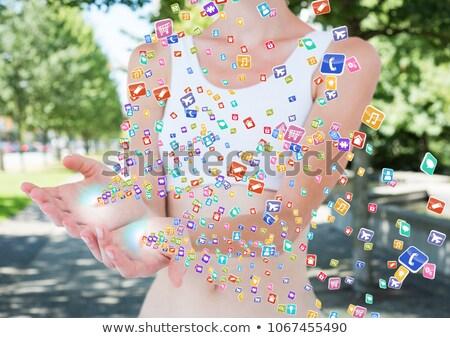 Mãos aplicação ícones para cima forma turva Foto stock © wavebreak_media