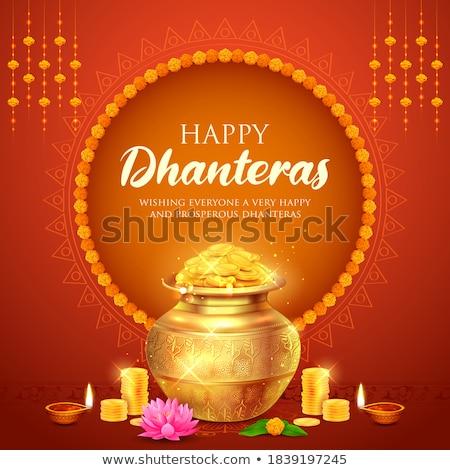gold coins and diya happy dhanteras background Stock photo © SArts