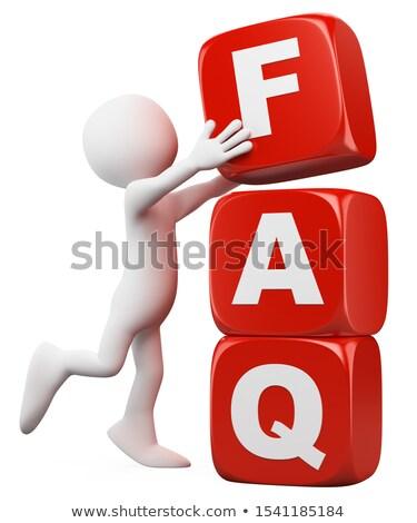 3d white people man with a dice pile faq word stock photo © texelart