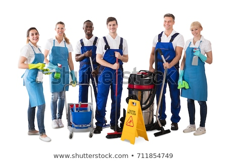 Group Of Professional Janitor Against White Background Stock photo © AndreyPopov