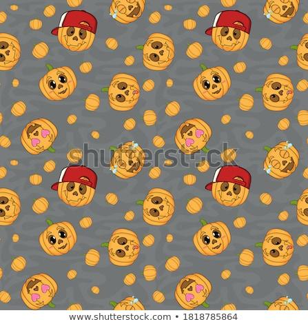Cute seamless pattern with cartoon emoji pumpkin Stock photo © Natalia_1947