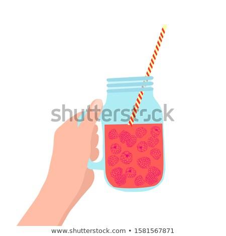 hand holding mason jar with raspberry illustration Stock photo © Margolana