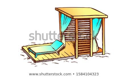 デッキ 椅子 木製 ビーチ インク ベクトル ストックフォト © pikepicture