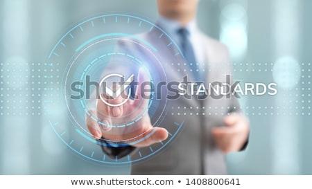 Standaard tekst Blauw wereldkaart sociale iconen Stockfoto © Mazirama