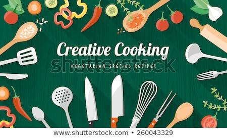 Cooking utensils, ingredients and cookbook Stock photo © karandaev