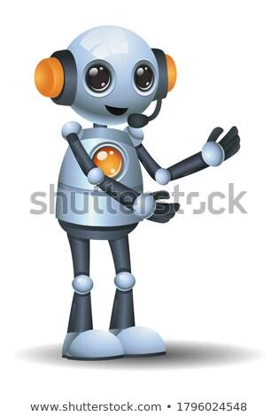 White humanoid robot on the gray background. 3d illustration. Stock photo © limbi007