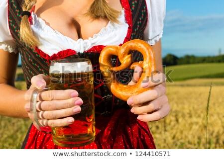 Femme bière bretzel belle paysage fille Photo stock © Kzenon