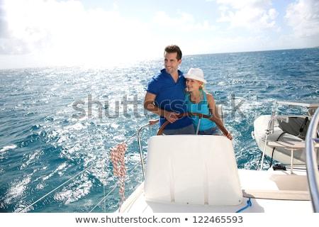 navegação · catamarã · sorrir · paisagem · sorridente - foto stock © photography33