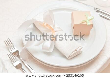 Asztal szalvéta jó ötlet díszít edény Stock fotó © vinogradov
