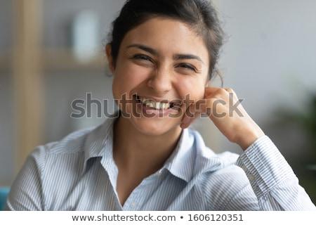Asian indian shy brunette girl similing portrait stock photo © lunamarina