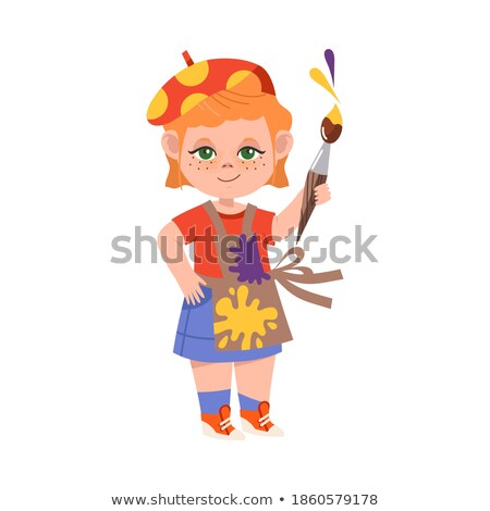 Young girl pretending to be a painter Stock photo © photography33