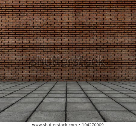 frontal 3d render of brick wall with tile pavement Stock photo © Melvin07