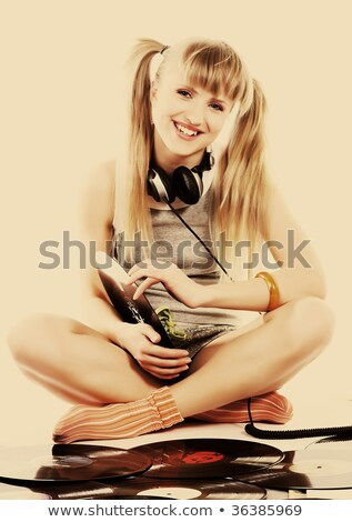 hölgy · tart · bakelit · lemez · fiatal · szürke - stock fotó © dolgachov