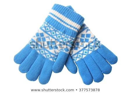 Paar warm handschoenen gestreept geïsoleerd witte Stockfoto © RuslanOmega