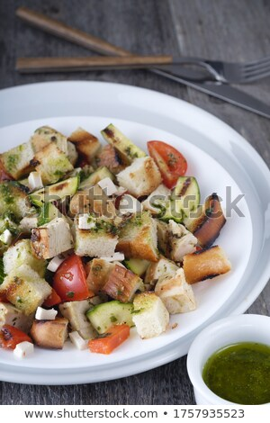 salad  with meat ,cracker and basil Stock photo © fanfo