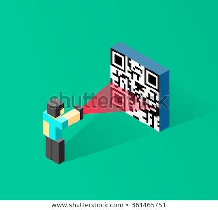 Mężczyzna 3d qr code matrycy kodów kreskowych 3d człowiek Zdjęcia stock © nasirkhan