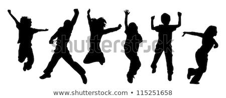 シルエット 子供 ジャンプ 少女 幸せ 楽しい ストックフォト © nebojsa78