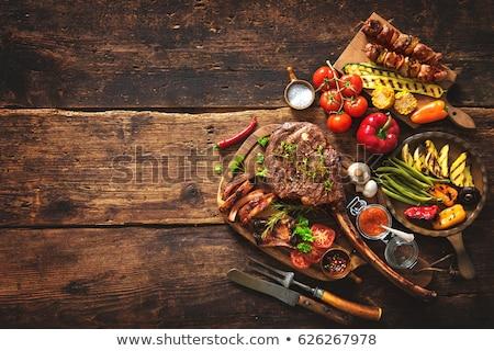 carne · a · la · parrilla · hortalizas · cena · tomate · vegetales · comedor - foto stock © M-studio