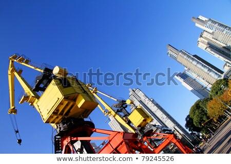 konteyner · çift · liman · mavi · gökyüzü · mavi · vinç - stok fotoğraf © elxeneize