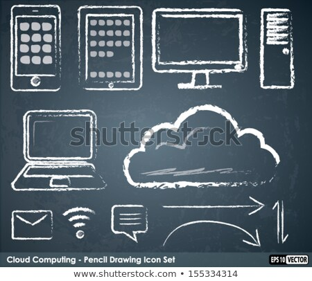 таблетка мелом совета облака зеленый интернет Сток-фото © matteobragaglio